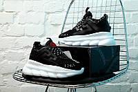 Кроссовки Versace Chain Reaction мужские, в стиле Версаче Чейн Реакшн, код KS-1646. Черно-белые