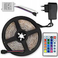 Светодиодная лента SMD 3528 300 LED RGB 5м с пультом и блоком питания