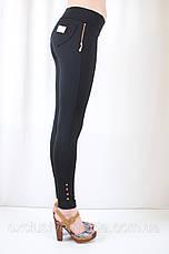 Модные красивые черные лосины с низкой посадкой и накладными карманами, фото 2