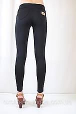 Модные красивые черные лосины с низкой посадкой и накладными карманами, фото 3