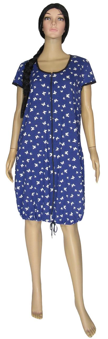 Халат домашний женский летний на молнии 19027 Lace Dark Blue Бабочки коттон, р.р.50-62