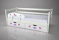 """Кровать детская """"Классик"""" с защитным бортиком """"Золушка"""" Pink/cream. Ольха"""