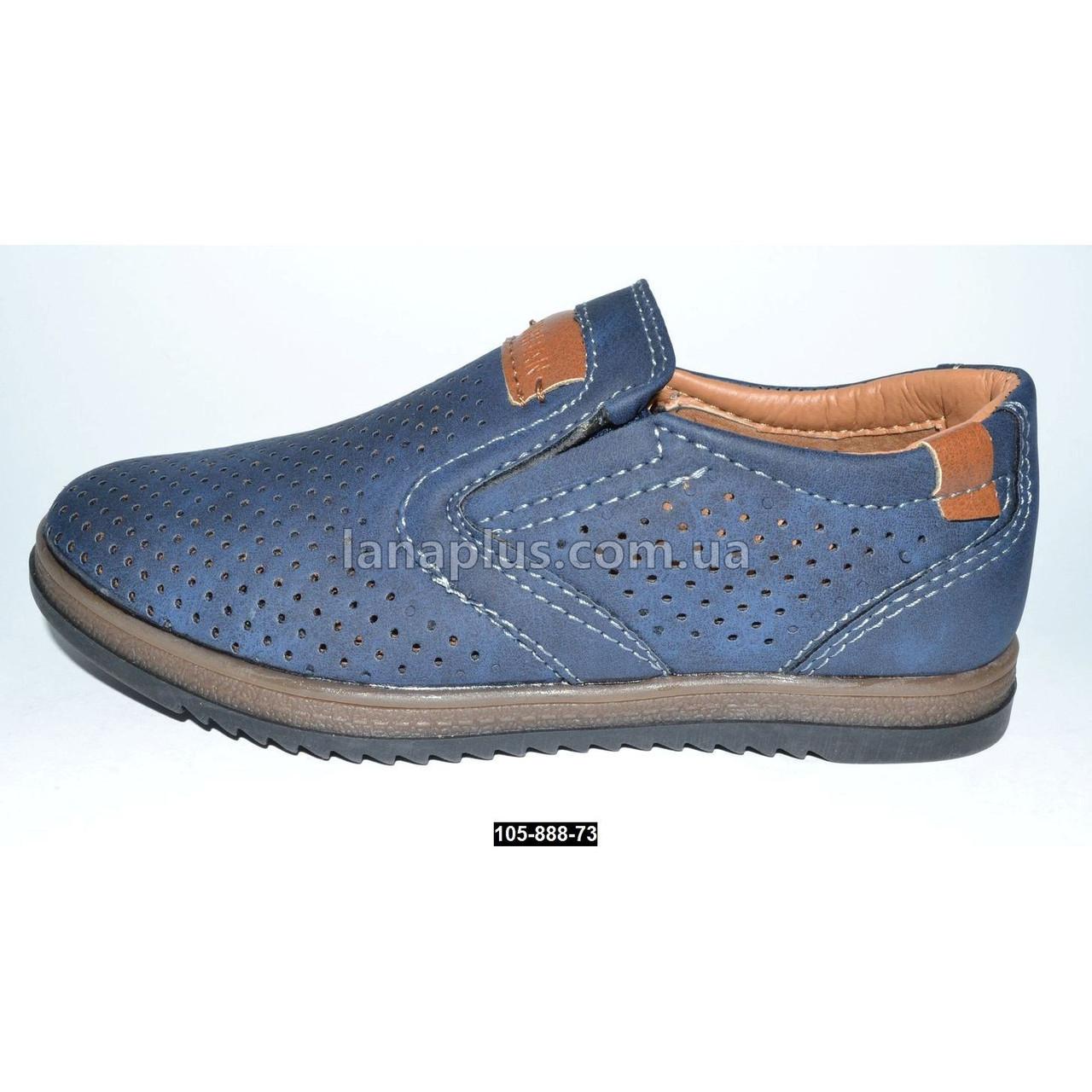 Летние мокасины, туфли для мальчика, 30 размер (19.5 см), супинатор, кожаная стелька
