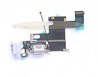 Шлейф для Apple iPhone 6 белый, коннектора зарядки, коннектора наушников, с микрофоном