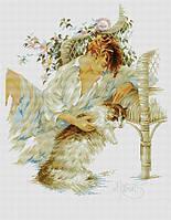 Набор для вышивания крестиком Женщина с кошкой Размер: 32*39 см