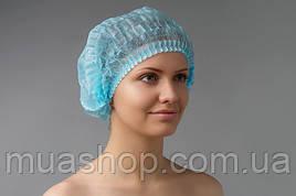 Одноразовая шапочка-Шарлотка(гармошка) синяя 100шт