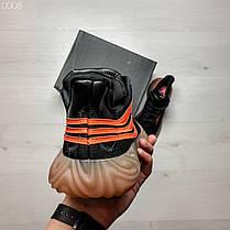 Кроссовки мужские черные с оранжевыми полосками Adidas топ-реплика, фото 2