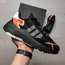Мужские кроссовки черные с оранжевым Adidas топ реплика, фото 3