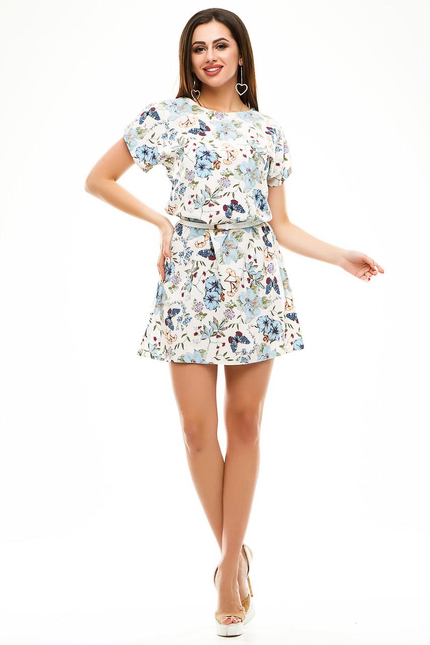 Платье 412  с ремнем белая бабочка