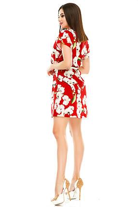 Платье 412  с ремнем красная орхидея, фото 2