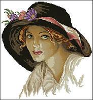 Набор для вышивания крестиком Девушка в шляпе. Размер: 24,5*26,5 см