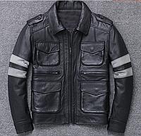 Кожаная мужская куртка на манжетах. (01329)