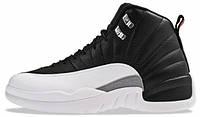 Мужские кроссовки Nike Air Jordan 12 Retro Black White (найк аир джордан 12, черные/белые)