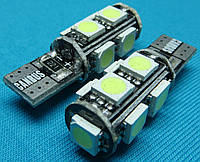 Светодиодные лампочки Т10 для автомобиля W5W 9 smd с обманкой