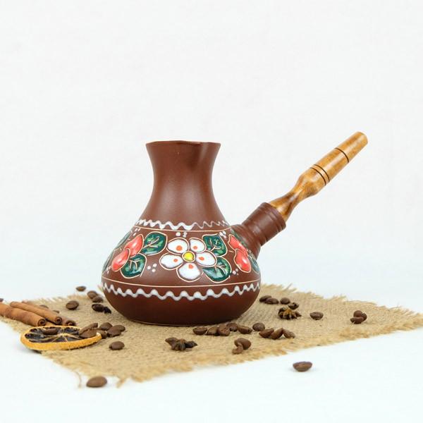 Турка Садочок керамическая с деревянной ручкой 500 мл