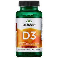Swanson  Витамин D3, 1000 IU, (25 мкг) 250 капсул