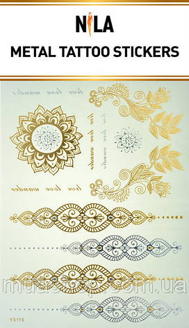 Татуировка- наклейка (золотая Лепестки), фото 2