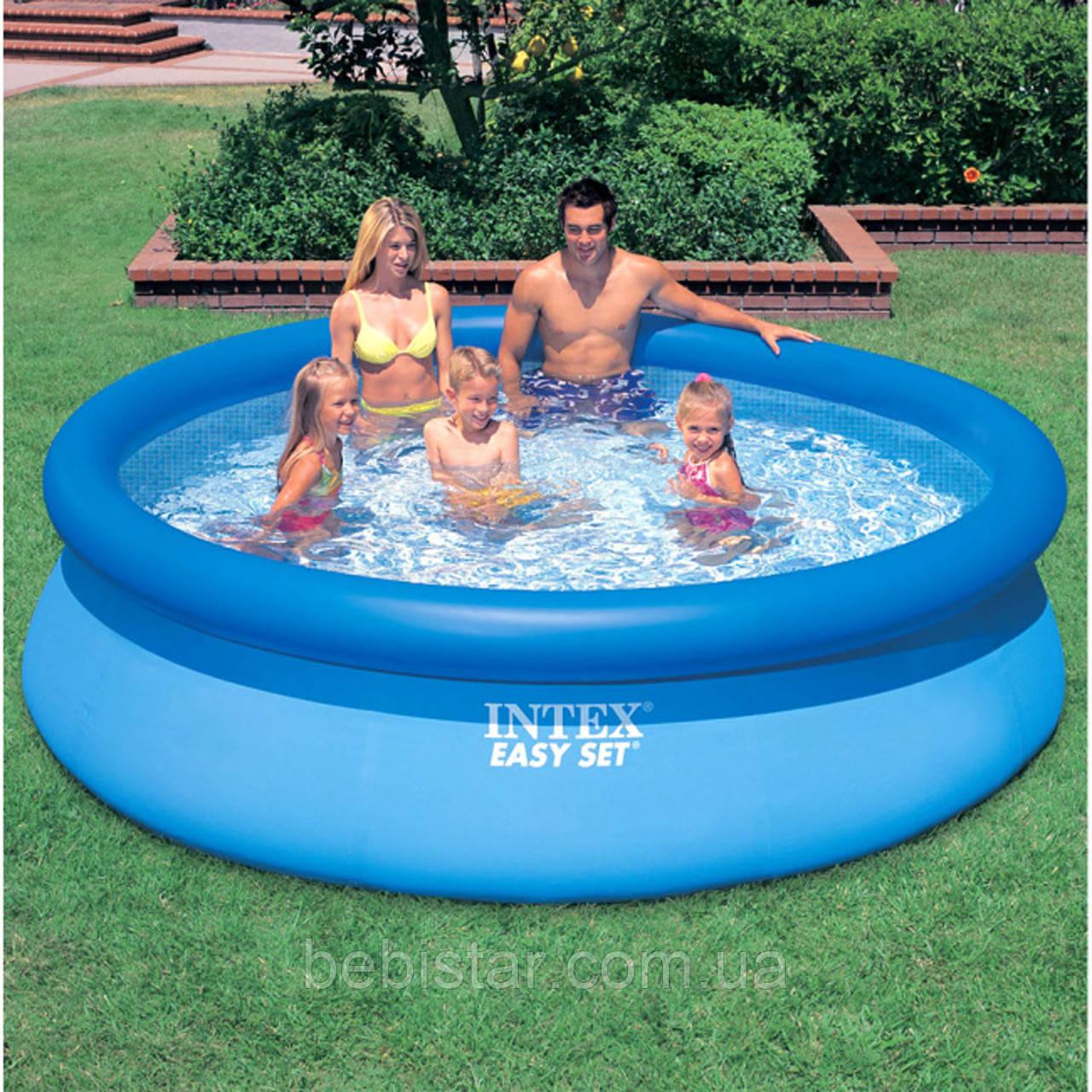 Детский надувной бассейн Intex размер 244*76 см и насос 30 см для накачивания бассейнов надувных кругов мячей