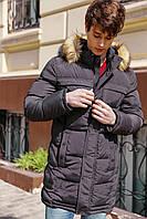 Удлиненная теплая зимняя мужская куртка