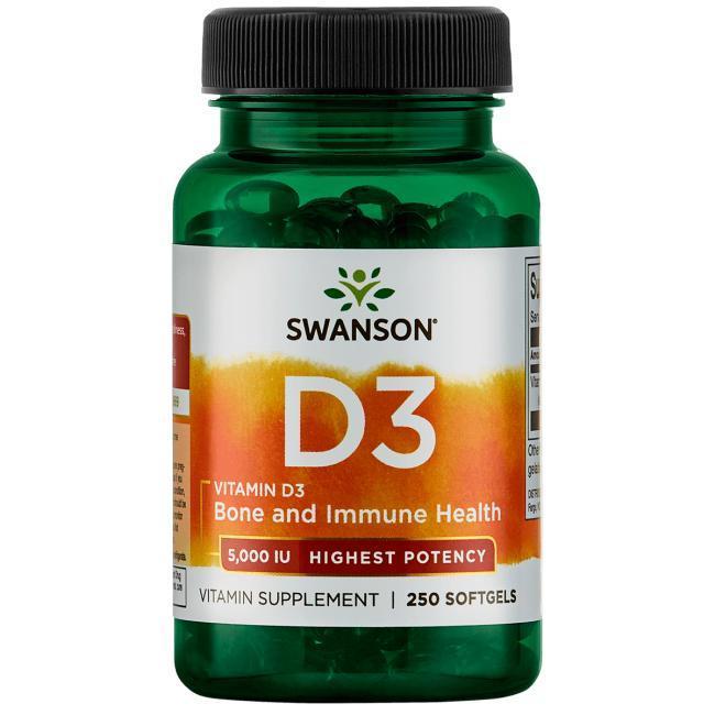Swanson  Витамин D3, 5000 IU, (125 мкг) 250 ЖК