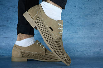 Туфли Yuves М111 (лето, мужские, натуральная кожа, бежевый)