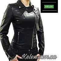 Женская куртка черная кожзам S-XXL
