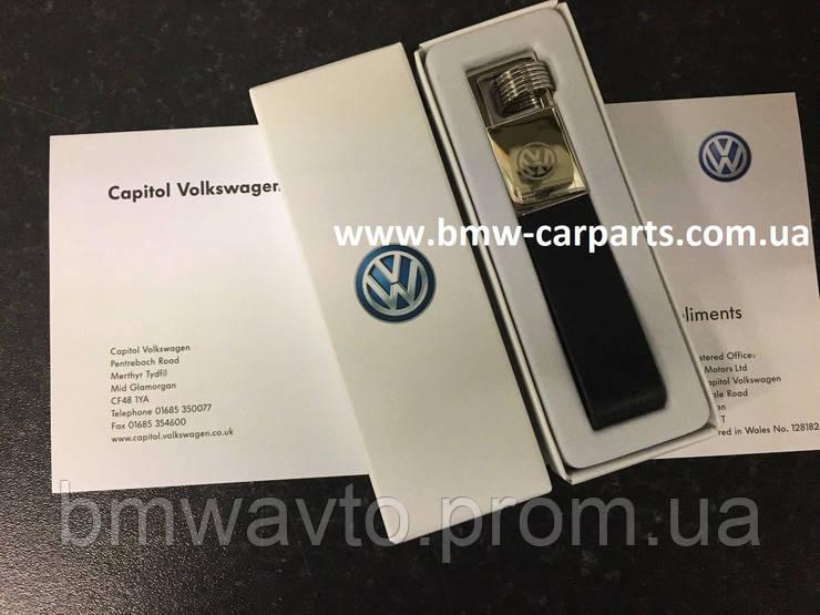 Брелок на кожаном ремешке Volkswagen Logo Keyring, Leather-Metall, фото 2