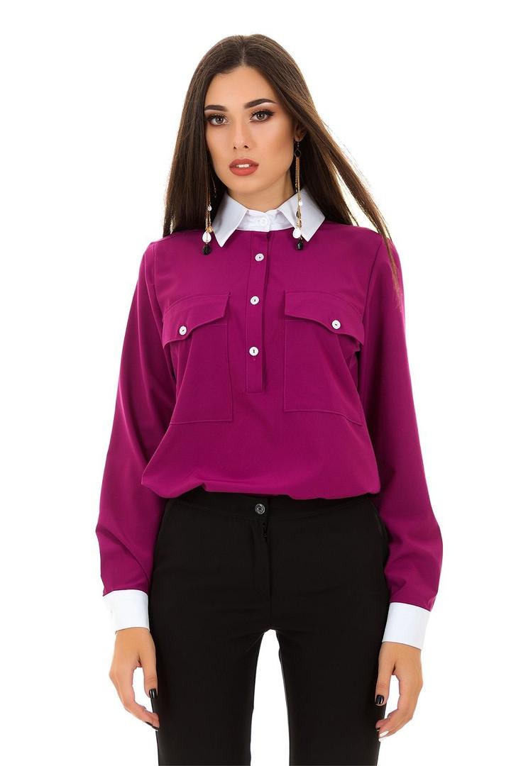 Рубашка женская из бенгалина с накладными карманами (К26506)