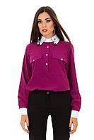 Рубашка женская из бенгалина с накладными карманами (К26506), фото 1