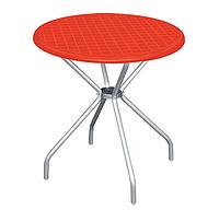 """Стол пластиковый круглый """" Beta"""" диаметр 80*72,5 см алюминиевые ножки Irak Plastik,Турция, синий красный"""