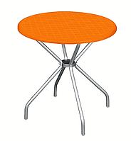 """Стол пластиковый круглый """" Beta"""" диаметр 80*72,5 см алюминиевые ножки Irak Plastik,Турция, синий оранжевый"""