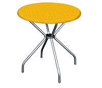 """Стол пластиковый круглый """" Beta"""" диаметр 80*72,5 см алюминиевые ножки Irak Plastik,Турция, синий желтый"""