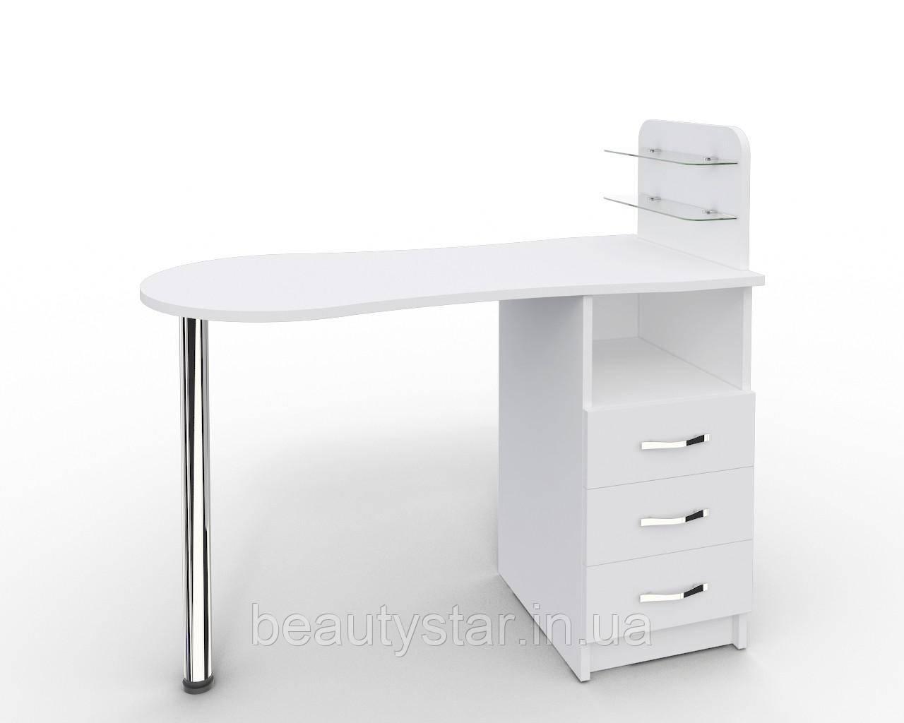 """Маникюрный стол c 3 ящиками и  стеклянными полочками под лак """"Эстет  №1"""" белый"""