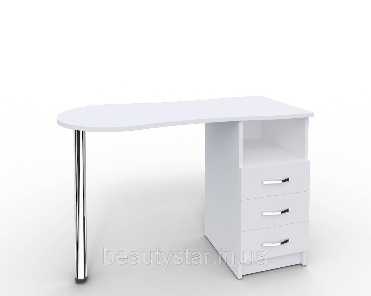 """Стіл для манікюру c висувними ящиками """"Естет"""" білий Манікюрний стіл для салону краси"""