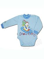 """Детское утеплённое боди (полукомбинезон) для мальчика """"Снеговик"""""""