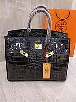 7f2afe921f35 Женская сумка Hermes Birkin 35 см черная рептилия крокодил Original quality  Гермес Биркин Эрме