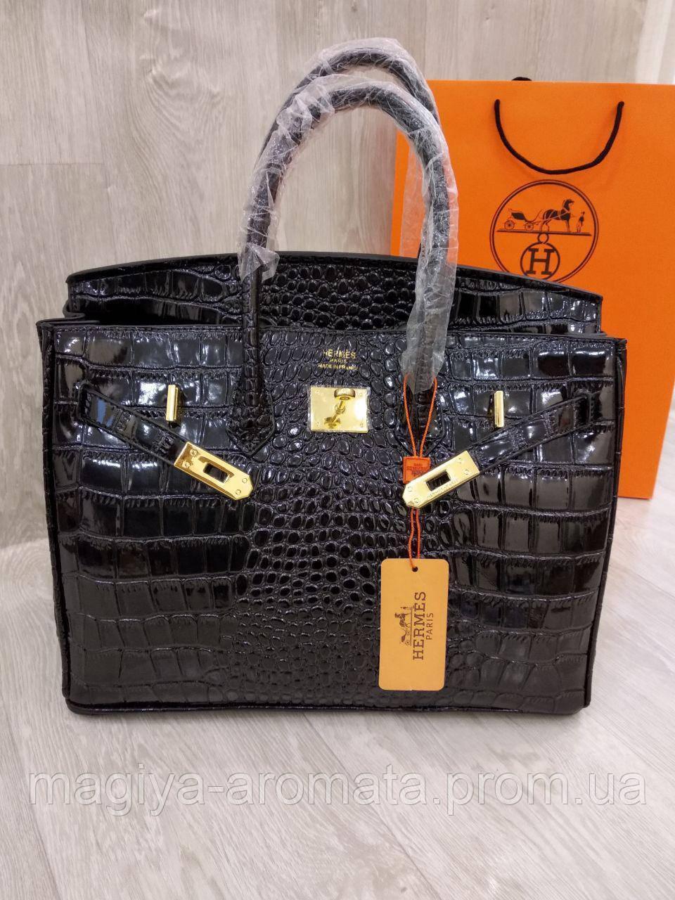 ab65ffbe89aa Женская сумка Hermes Birkin 35 см черная рептилия крокодил Original quality  Гермес Биркин Эрме