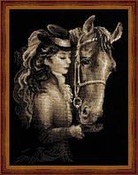 Набор для вышивания крестиком Девушка с лошадью. Размер: 24,5*34 см