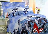 ✅ Двуспальный Евро комплект постельного белья с 3D(3Д) эффектом (Полисатин) TAG PS-B231