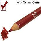 Карандаш с Точилкой Косметический Матовый Цвет Терракотовый Terra Cotta  для Губ Тон 14 Упак 12 штук, фото 2