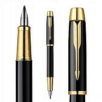 Ручка Паркер перьевая, чёрный глянец с позолотой