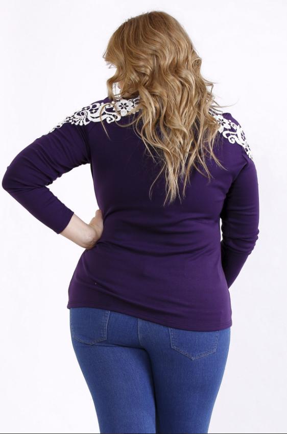 0eec828b8fe Фиолетовая блузка с кружевом (р. 42-74 ) под заказ купить в Украине ...