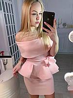 Розовый вечерний женский облегающий костюм с баской на юбке. Арт-7799/93, фото 1