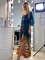 Бирюзовая женская удлиненная пляжная туника из шифона под пояс с тигровым рисунком. Арт - 7801/93