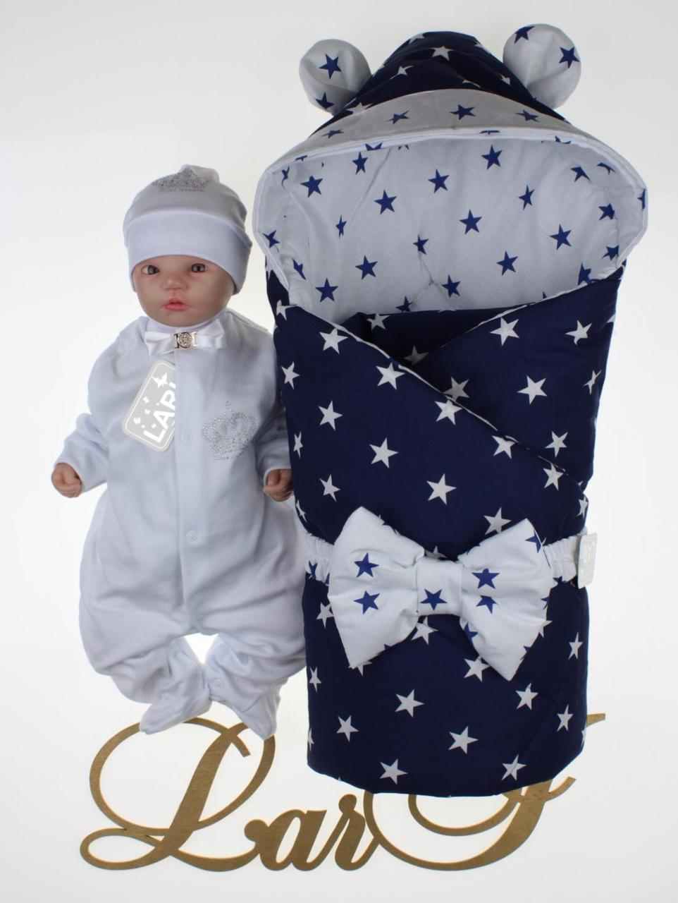 """Демисезонный набор для новорожденных мальчиков """"Микки"""" 2, белый/синий"""