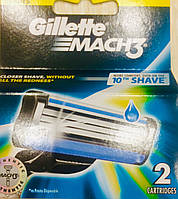 Сменные картриджи для бритья Gillette Mach 3 (2 шт) сменные кассеты джилет мак3