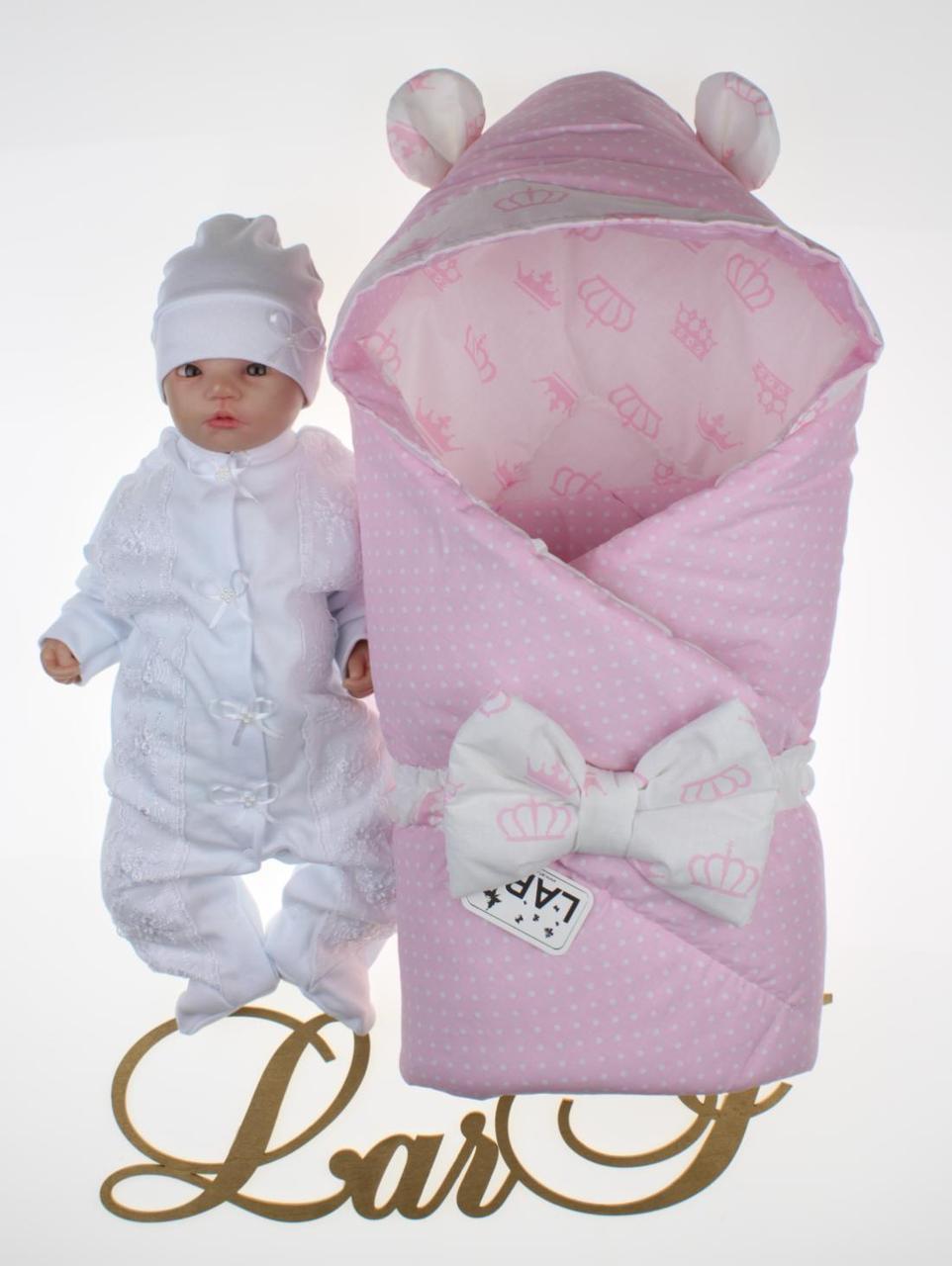 """Демисезонный набор для новорожденных девочек """"Микки"""", белый/розовый"""