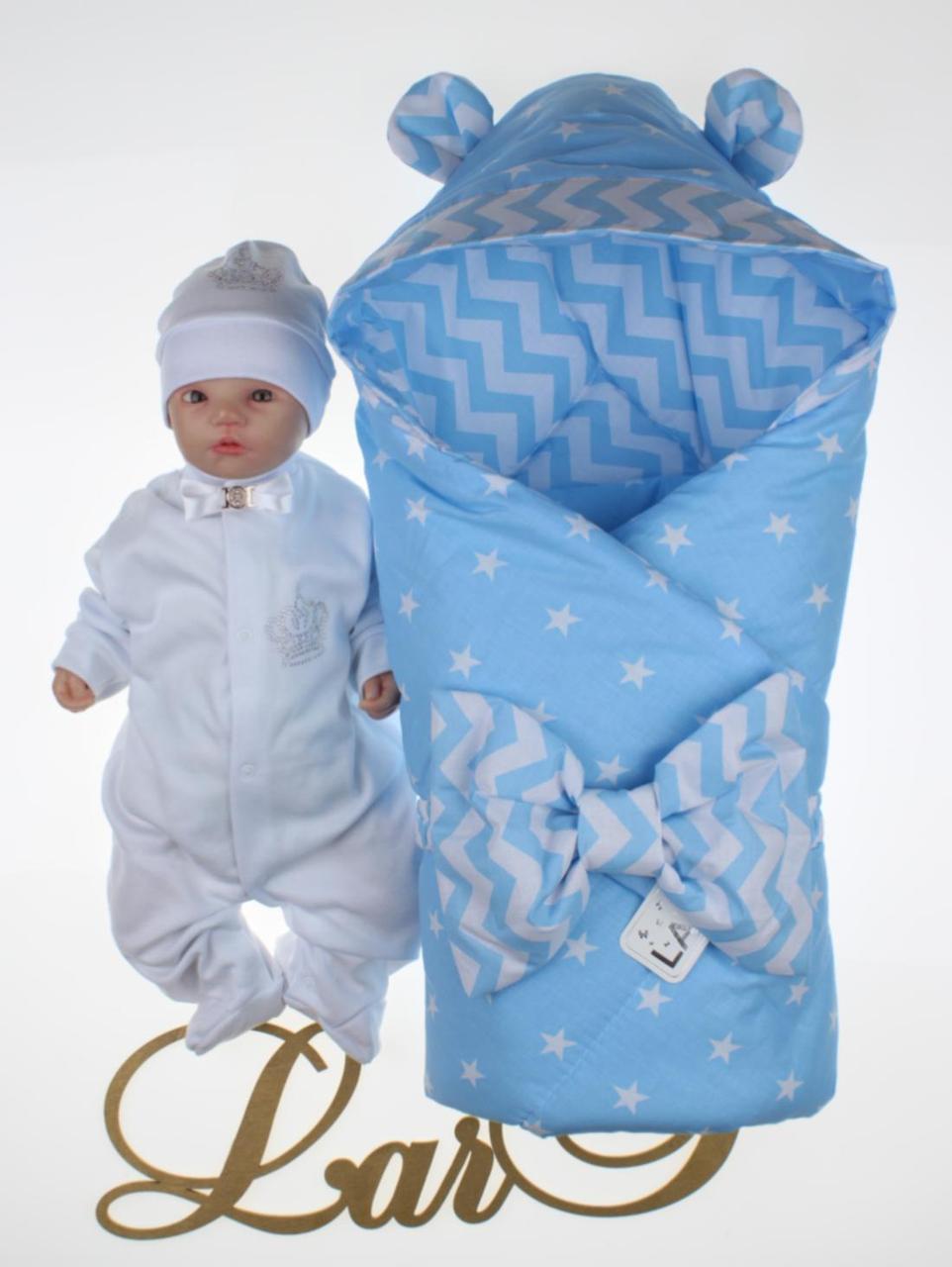 """Демисезонный набор для новорожденных мальчиков """"Микки"""", белый/голубой"""
