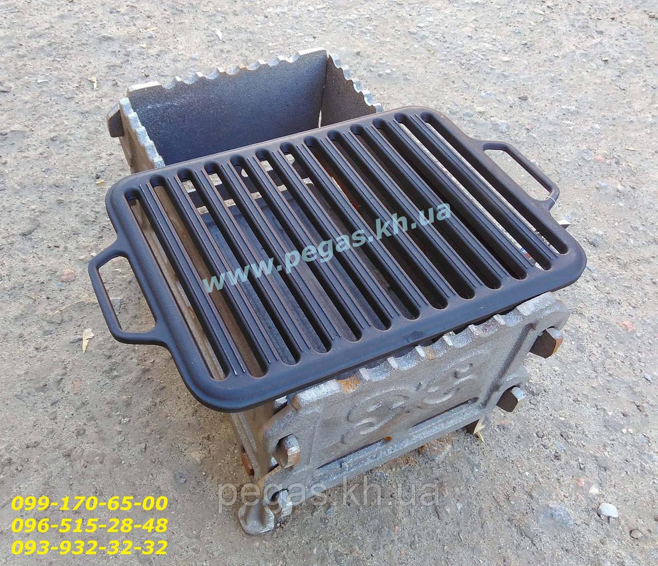 Решітка чавунна гриль для барбекю мангалу 260х420 мм.