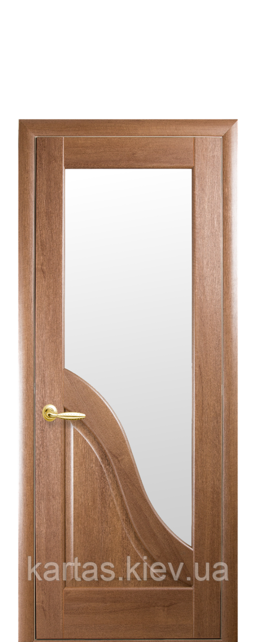 Дверное полотно Амата Золотая ольха со стеклом сатин